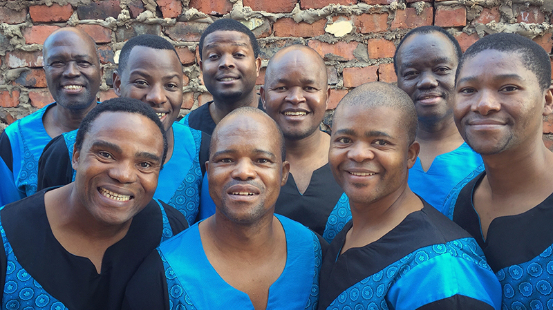 photo of members of Ladysmith Black Mambazo, South African singing group