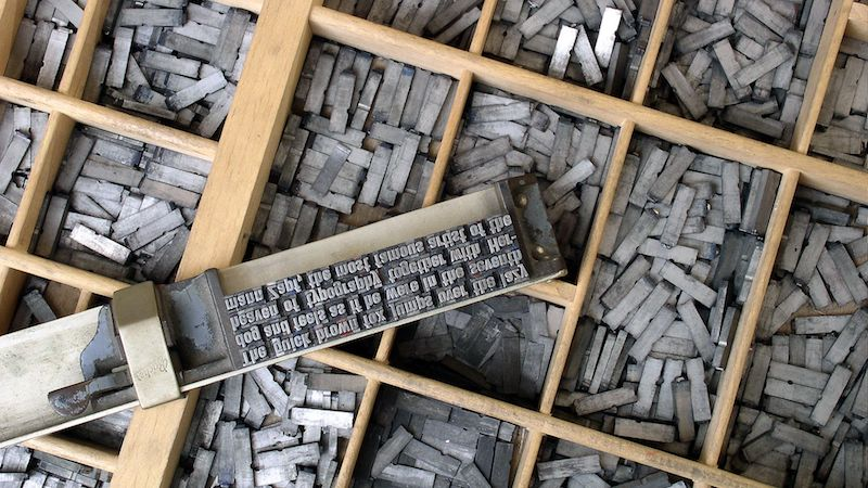 movable type to illustrate A Typographic Ramble Around London, Tues. night