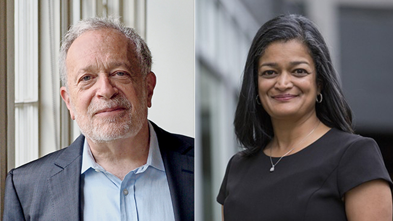 photos of Robert Reich and Pramila Jayapal who are speaking at Town Hall Seattle Mon. Sept. 2, 2019