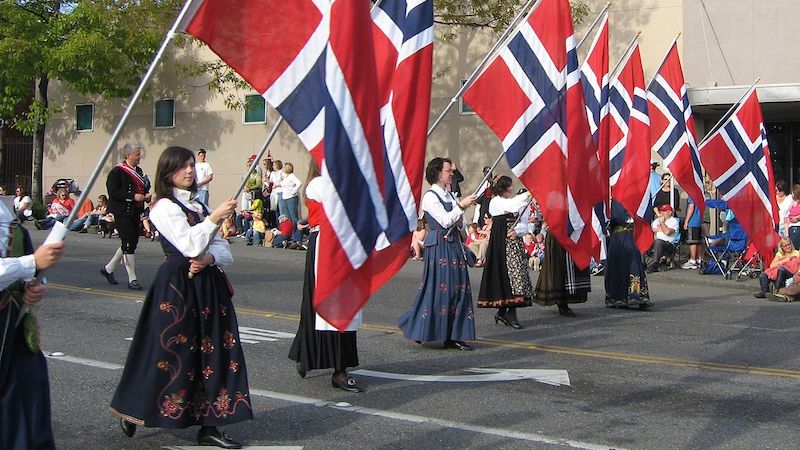 Syttende Mai Parade (Norway's Constitution Day) in Ballard neighborhood of Seattle, WA