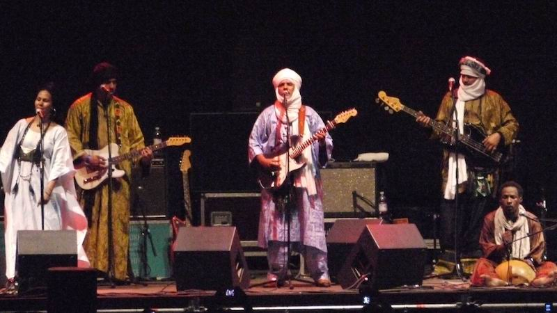 picture of Saharan desert music group Tinariwen, performing at Benaroya Hall Mon. 10/7