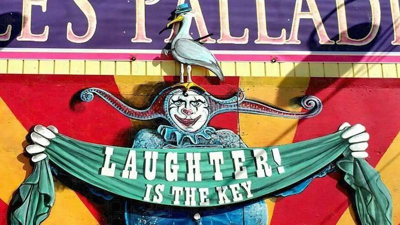 "Moisture Festival ""Laughter Is the Key"" sign at Hale's Palladium"